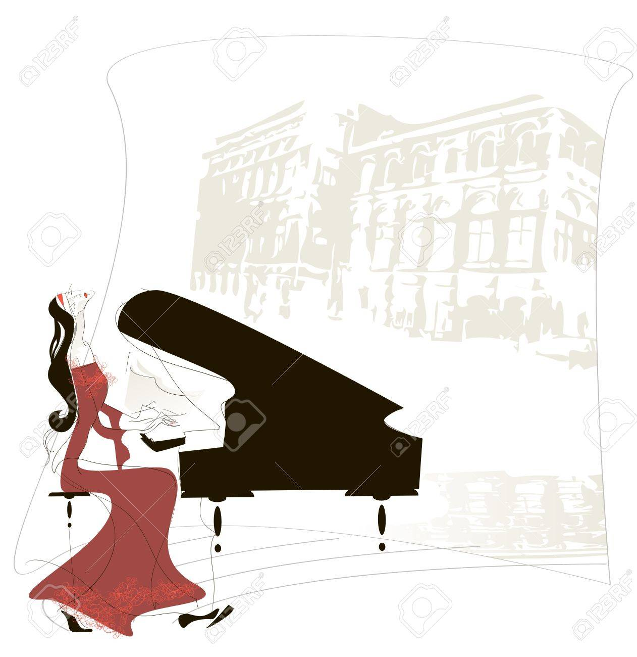 Woman masterfully plays the piano on the background the silhouette of the building of the Vienna Opera - 14862741