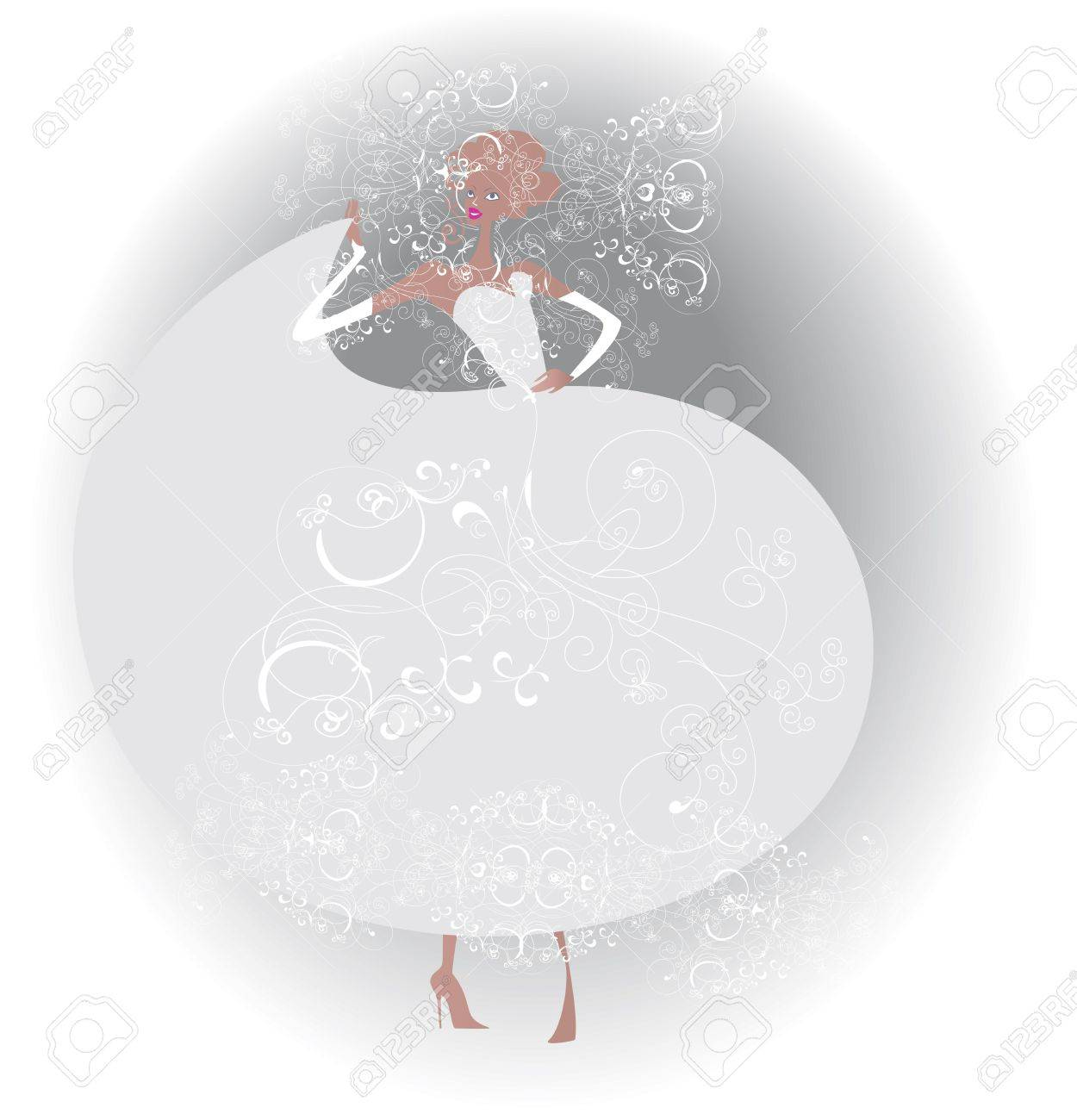 Party dress, decorated with lace and embroidered patterns for the bride Stock Vector - 14862770