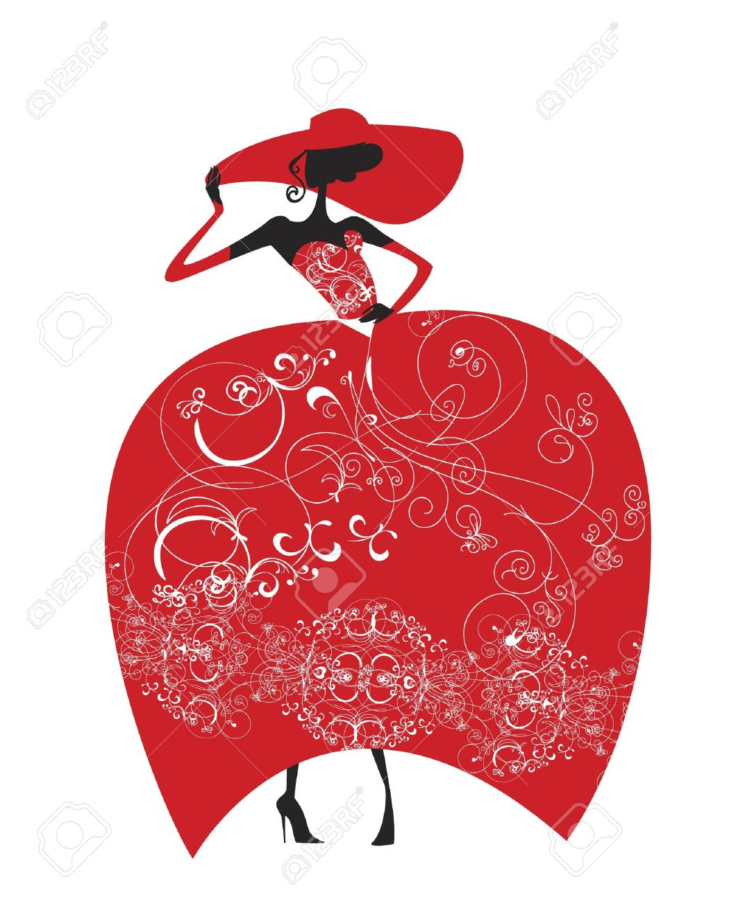Lady in a hat and a red evening gown, adorned with lace Stock Vector - 14862767