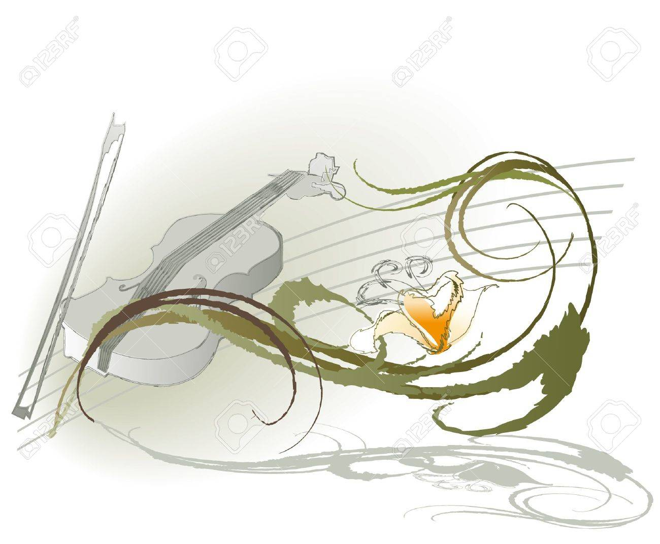 violin and flowers on a light background of decorative Stock Vector - 14862755