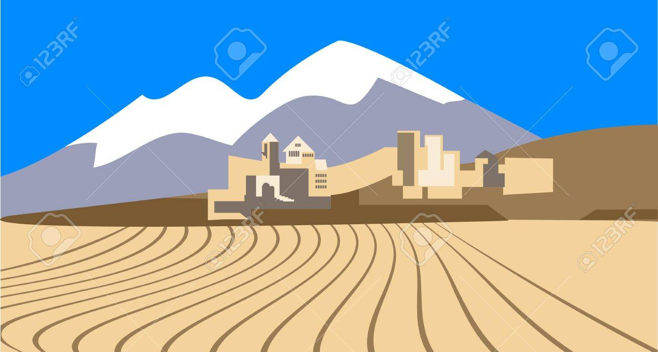 Desert landscape with the   the old eastern city on the horizon Stock Vector - 14862817