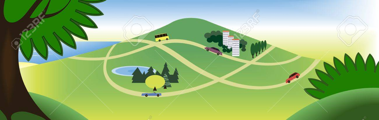 a broad view of the sea and hill and roads Stock Vector - 14862841