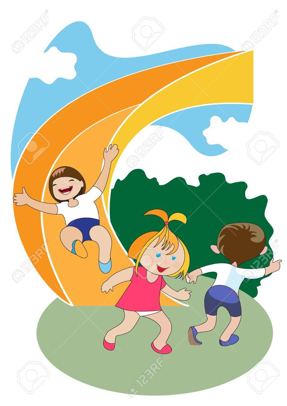 Group of preschool-age children ride the slide on the playground Stock Vector - 14862957