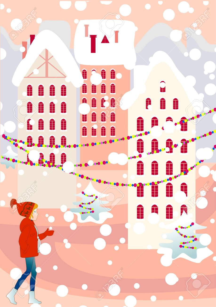 The girl walks on streets of deserted city on the eve of Christmas Stock Vector - 14863030