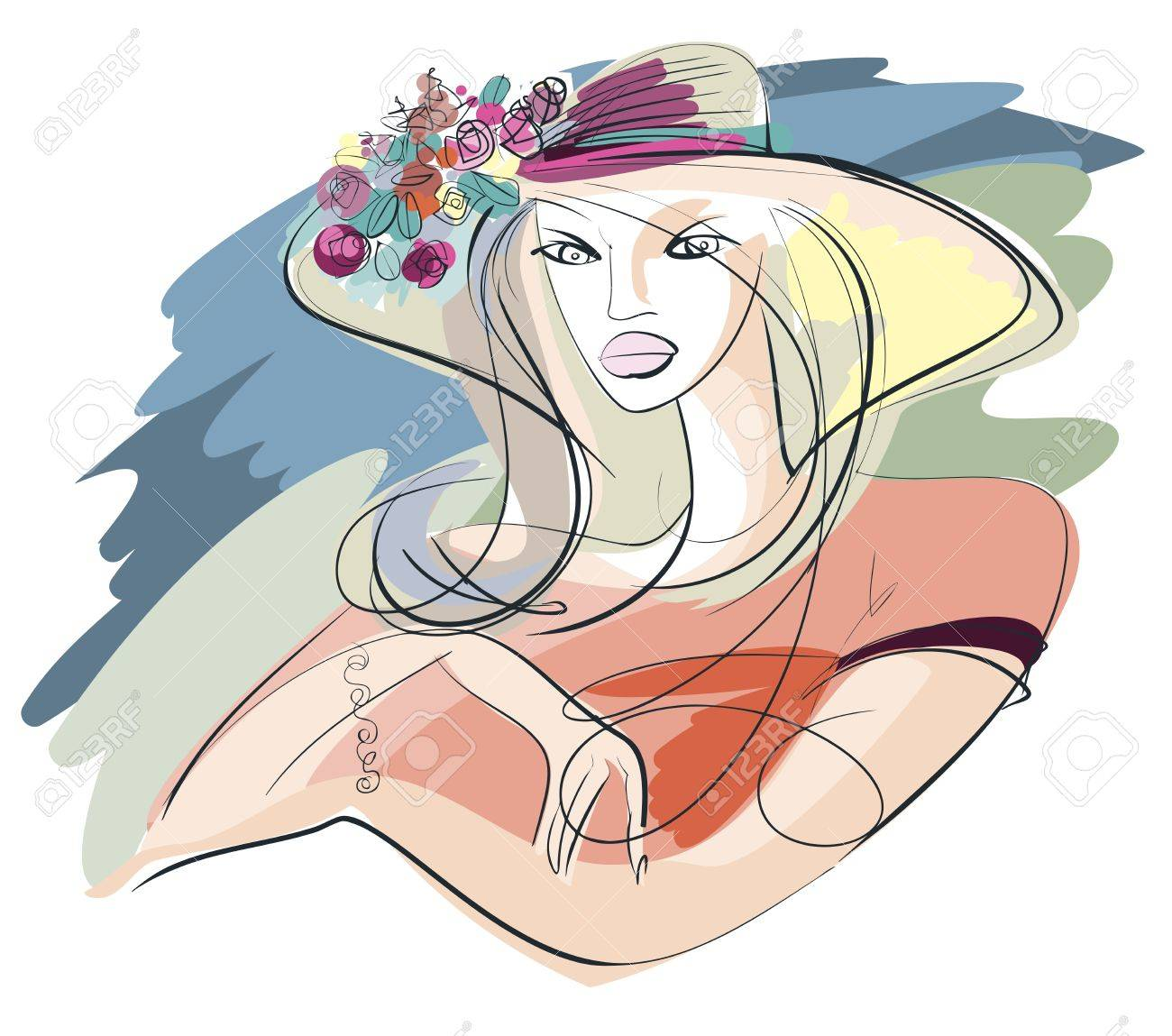 Portrait of a young woman in summer straw hat adorned with a bouquet of roses Stock Vector - 15237469