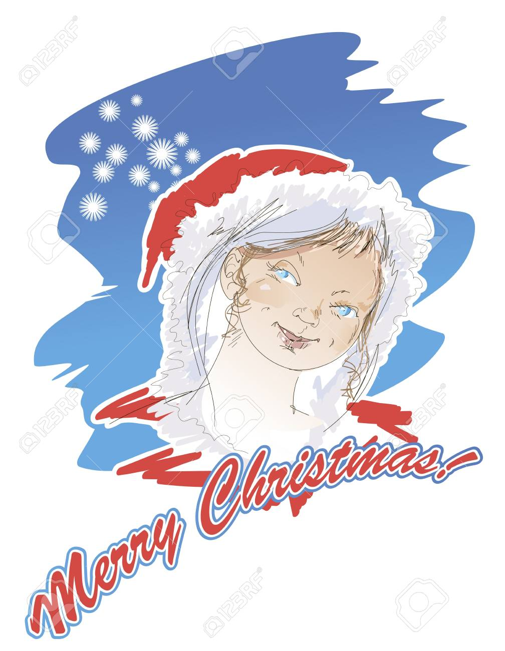 Portrait of a Snow Maiden on a Christmas card in retro - style Stock Vector - 16268825