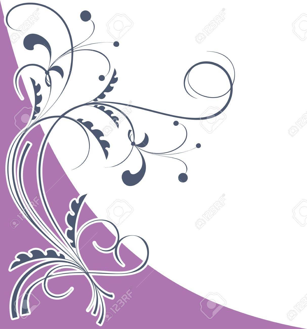 Corner floral pattern on a light violet background Stock Vector - 16268719