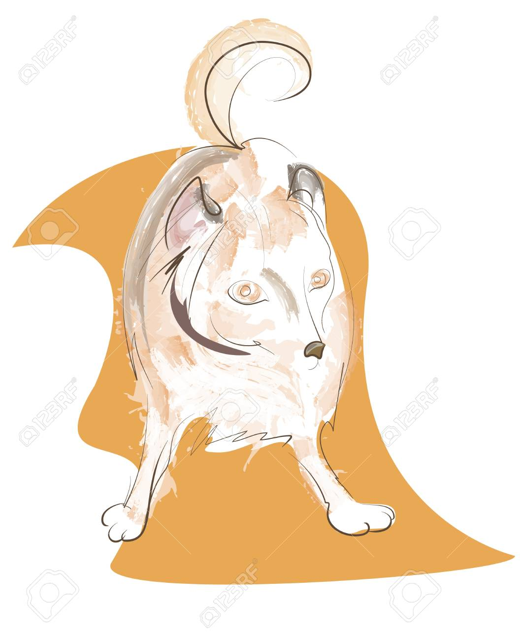isolated vector illustration red dog on a white background Stock Vector - 16449660
