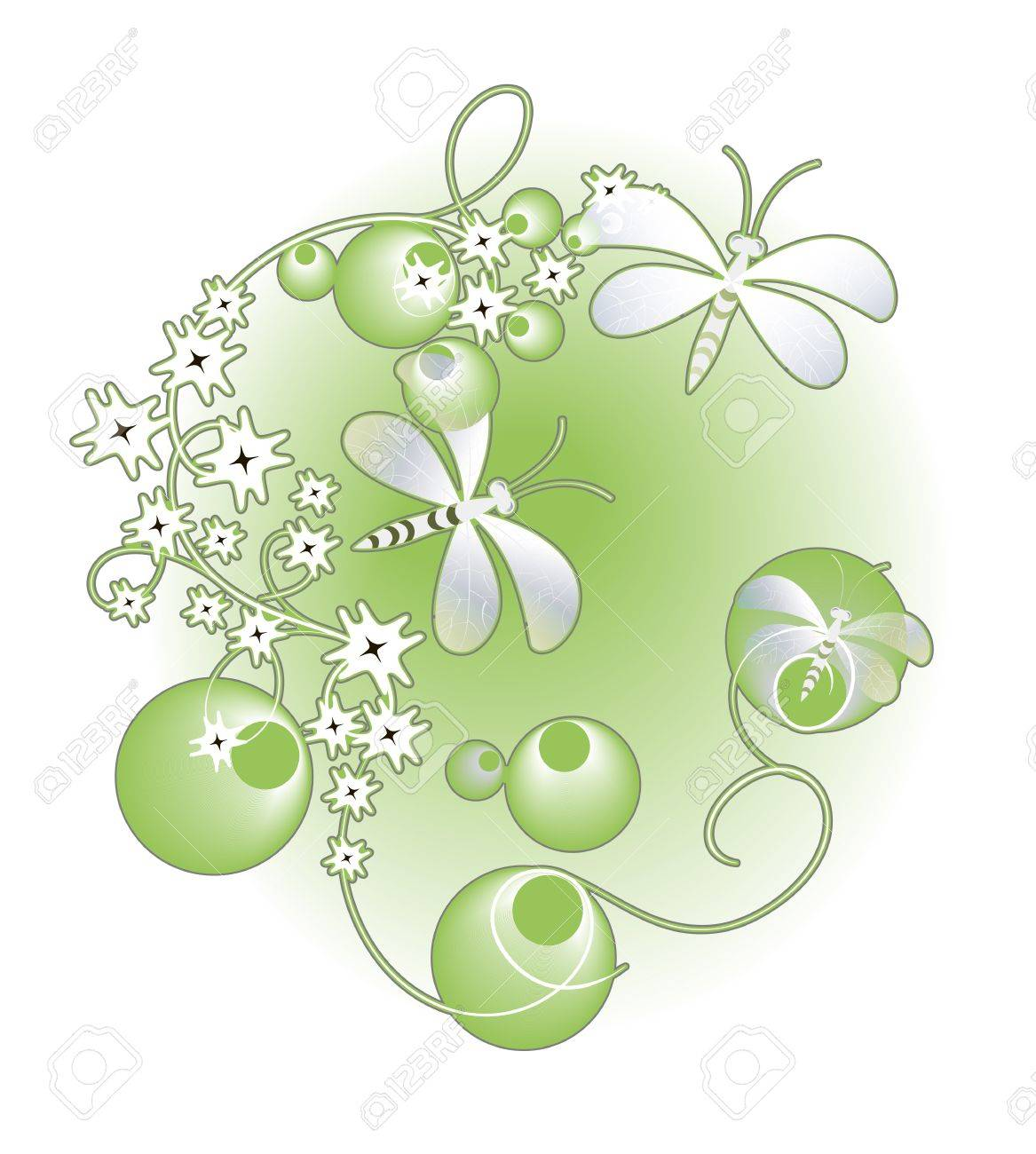 illustration with  dragonflies and flowers on light background Stock Vector - 16721555