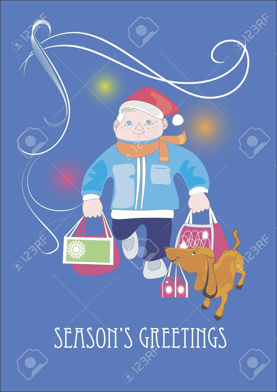 A man and his dachshund carry bags with Christmas presents Stock Vector - 16721542