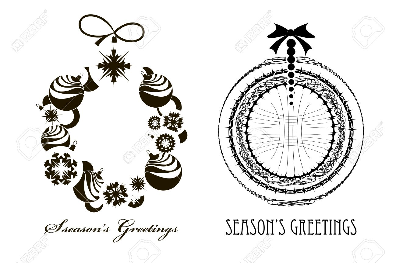 Black - white image of two Christmas wreaths Stock Vector - 16721552