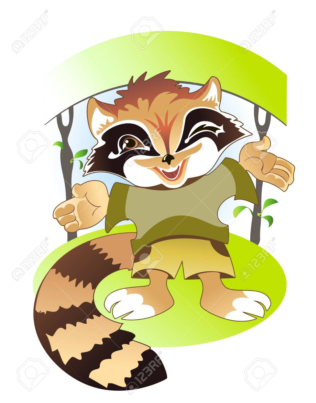 Cute raccoon invites children to summer camp forest Stock Vector - 17179820