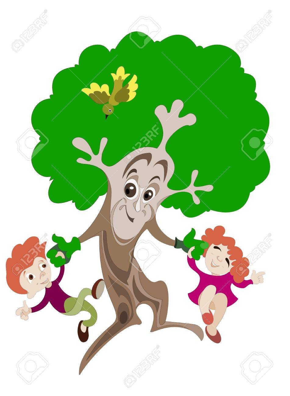 animated image of a tree which plays with two young children