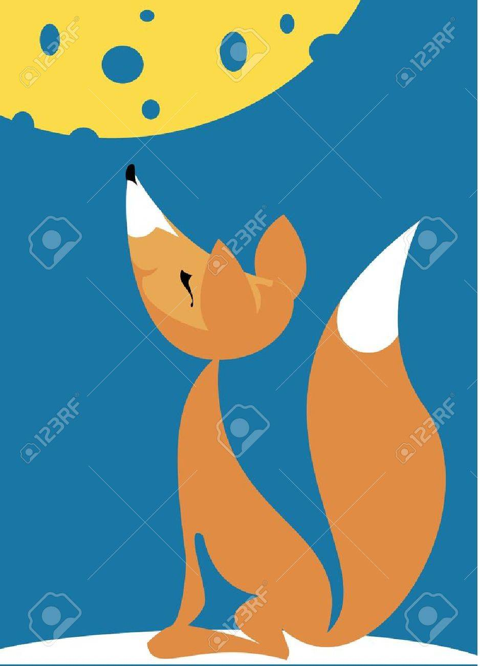 Illustration to the fable of the sly fox and the crow stupid Stock Vector - 17814743
