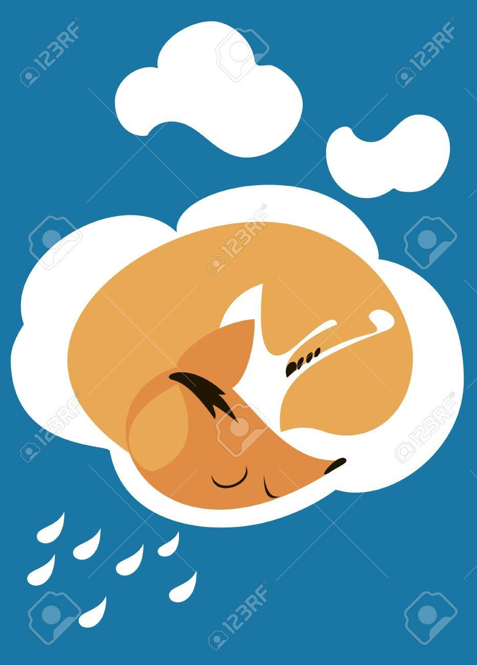 Little red fox sleeping peacefully on a white cloud Stock Vector - 17814745