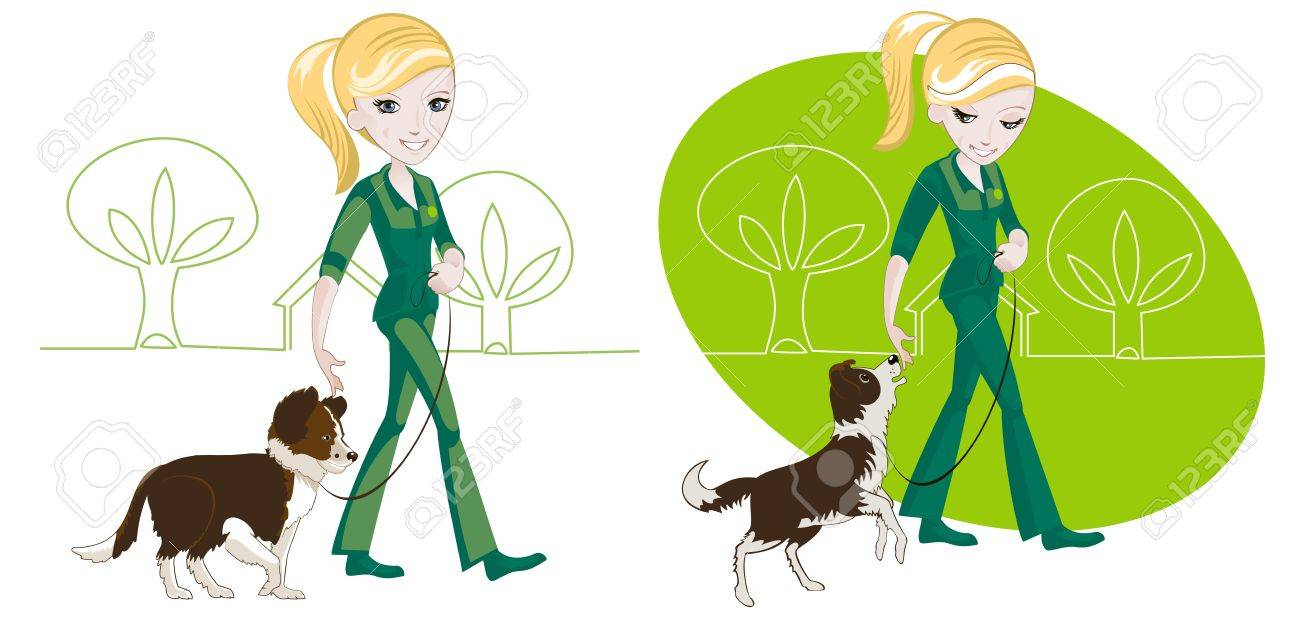 Two illustrations on the subject of dog training: the girl is his dog on a leash Stock Vector - 19097220