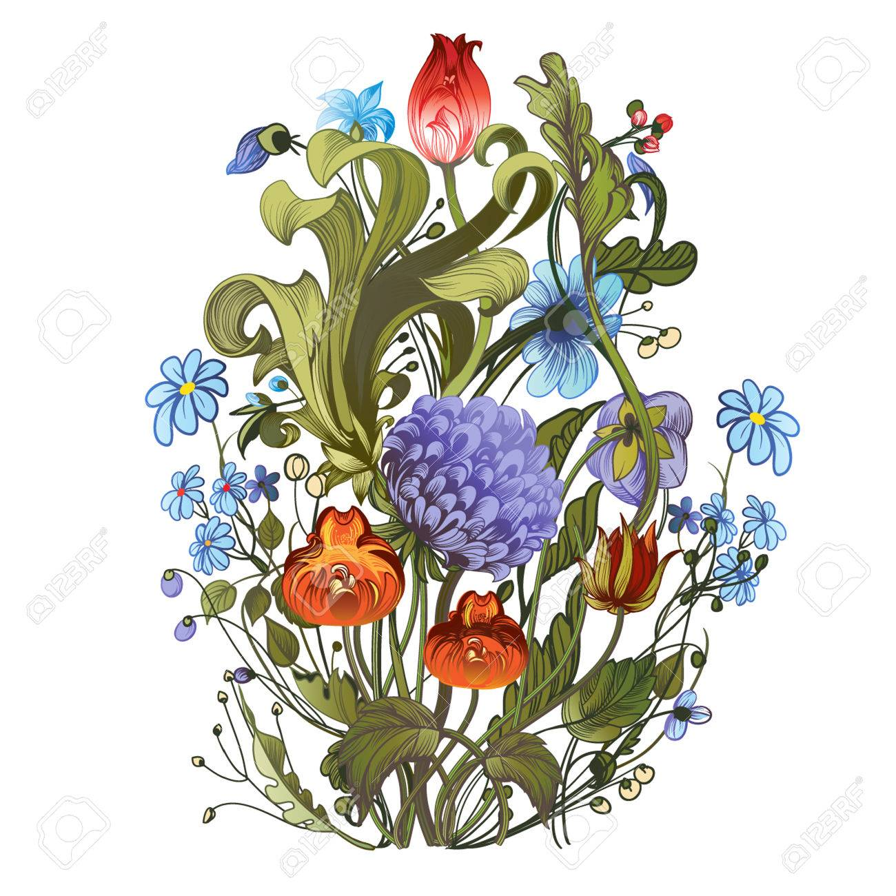 Decorative hand drawing a bright bouquet of garden flowers royalty decorative hand drawing a bright bouquet of garden flowers stock vector 55091810 izmirmasajfo