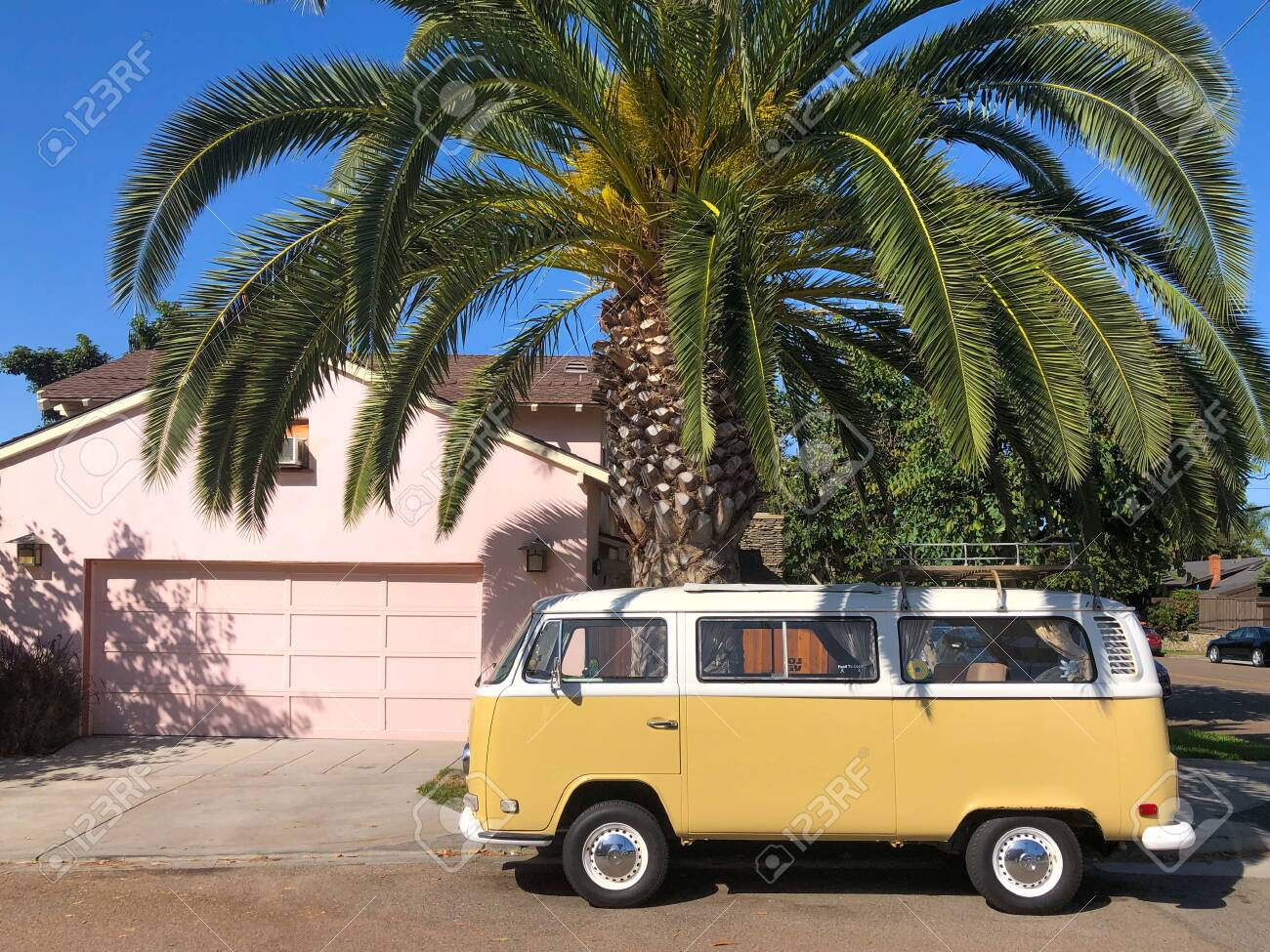 Classic Beige And White Vintage Volkswagen T1 Camper Van Parked Stock Photo Picture And Royalty Free Image Image 135749459
