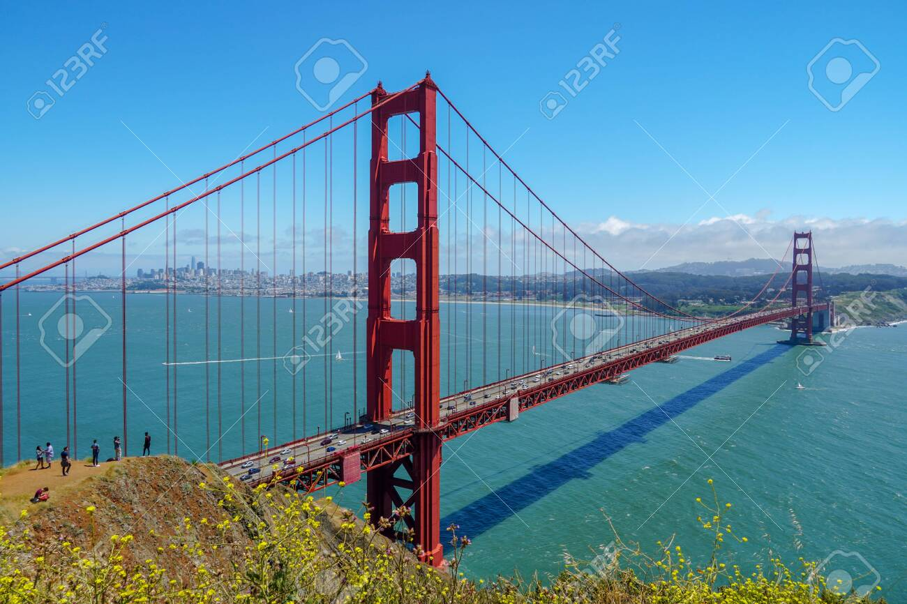 Golden Gate Bridge, suspension bridge. The structure links the American city of San Francisco, California, the northern tip of the San Francisco Peninsula to Marin County, USA. July 13th, 2020 - 151549026