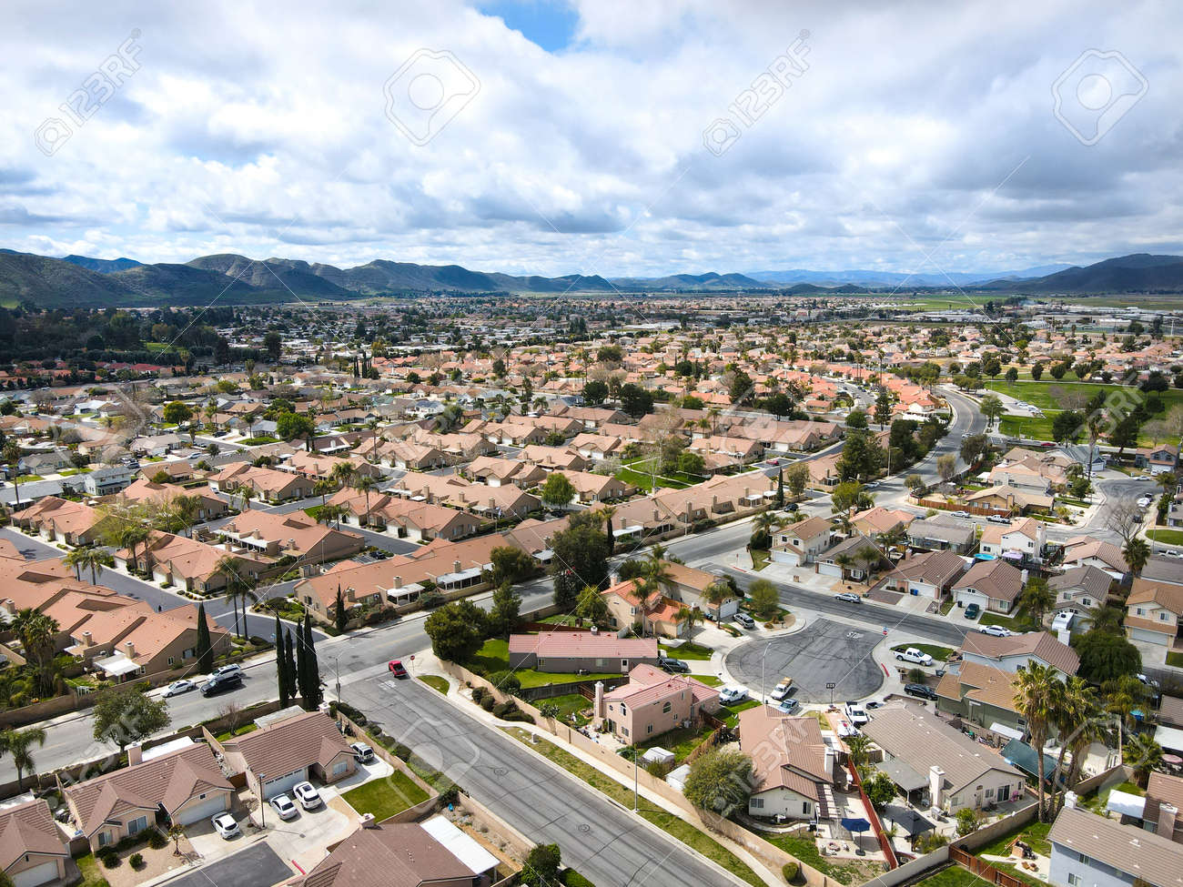 Aerial view of Hemet city in the San Jacinto Valley in Riverside County, California, USA. - 168023553