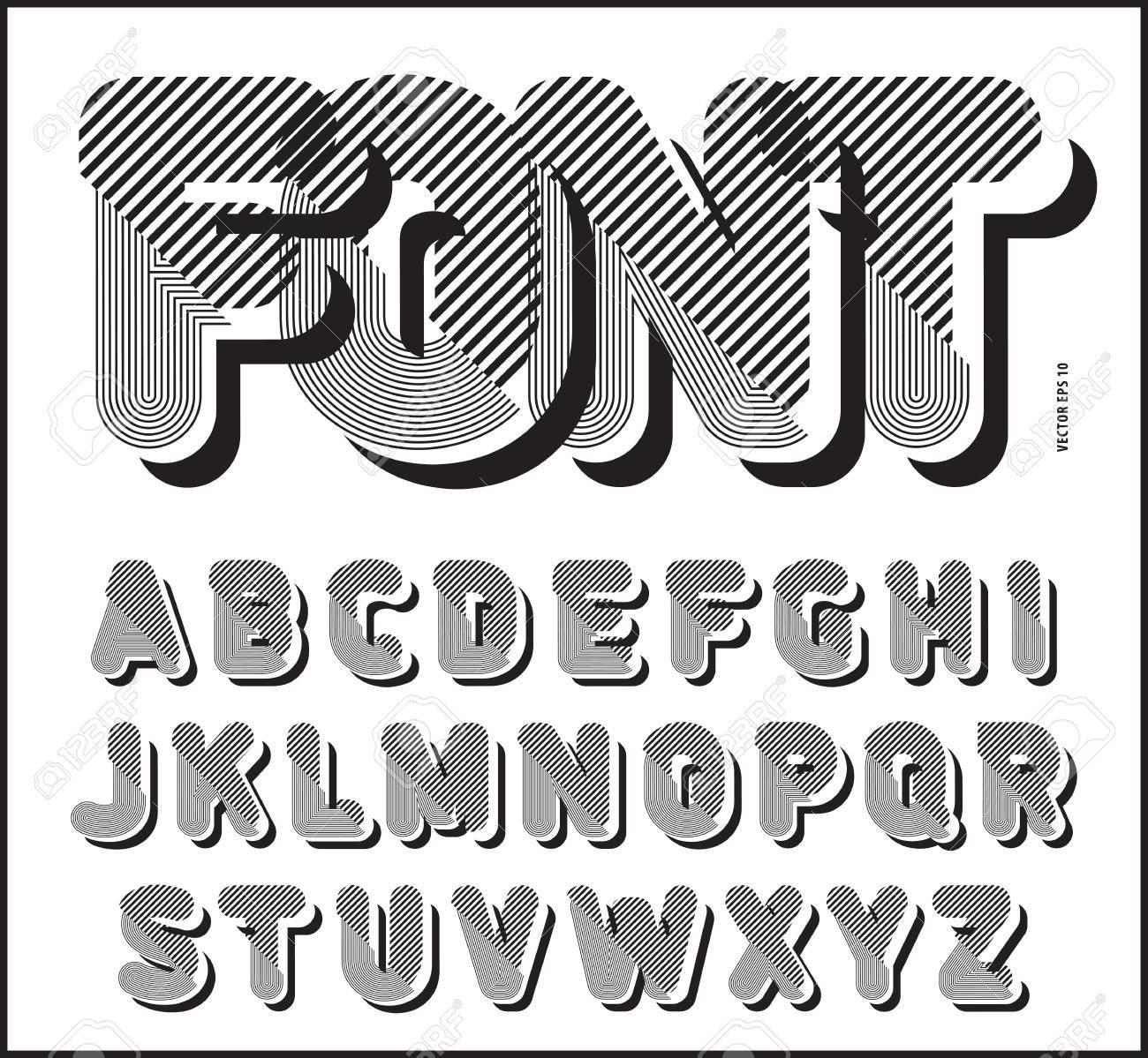 Fuente Gráfica De Estilo Retro Rayado, Alfabeto Vector, Diseño De ...