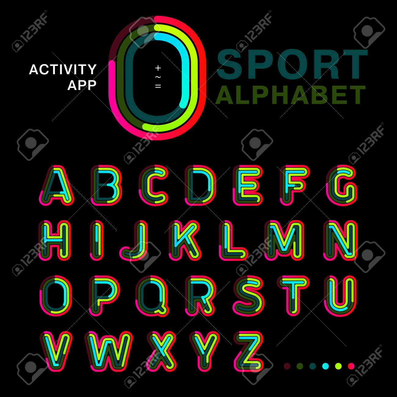 Bright colorful font line written symmetrically on a black background. Modern concept alphabet to be used for an app activity, interface and sports. Sample of vector illustration. - 125772472