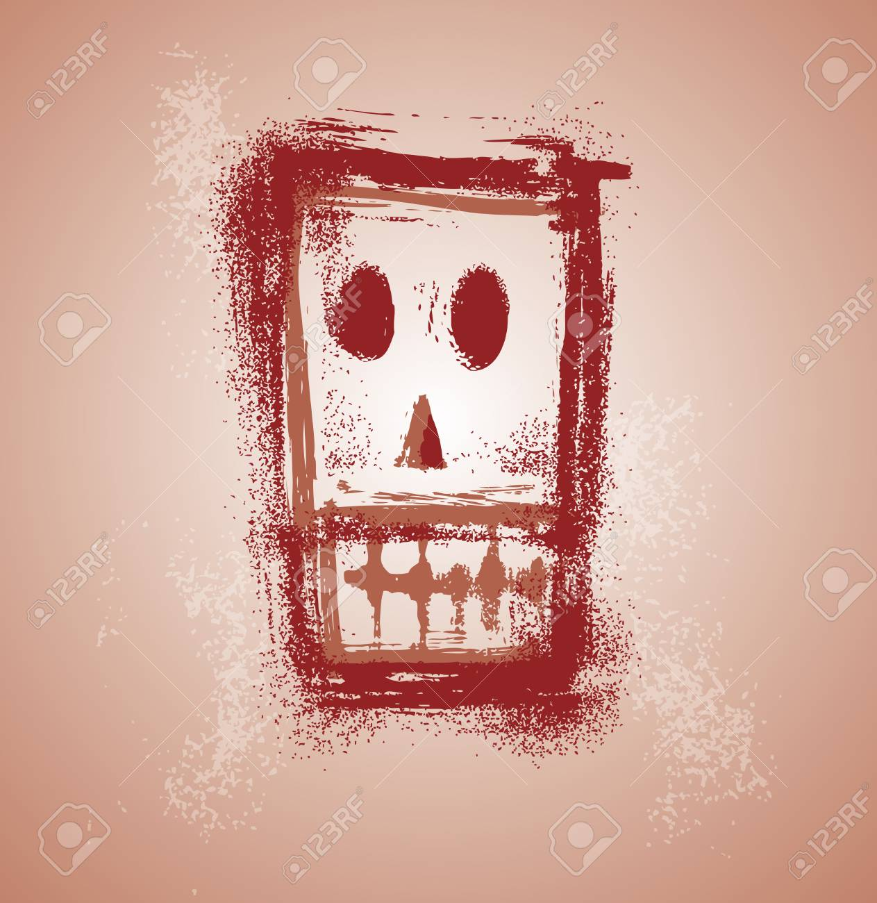 Grunge skull face in separate layers Stock Vector - 3494790