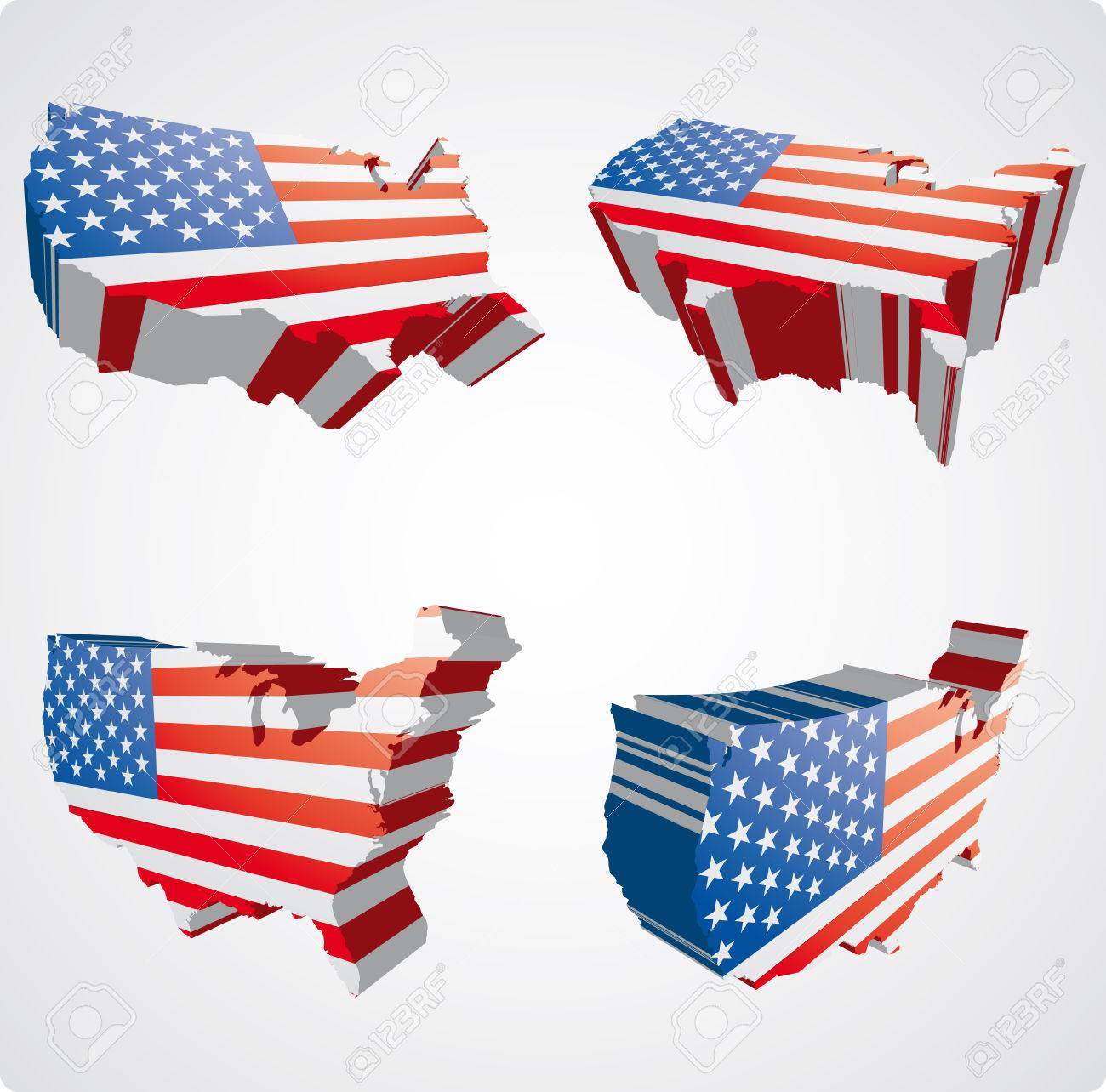 Four Perspective Views In 3d Style Of The Usa Map Stock Vector 3504915