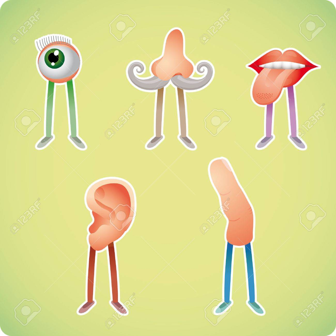 Five human senses in humanized styles Stock Vector - 3520366