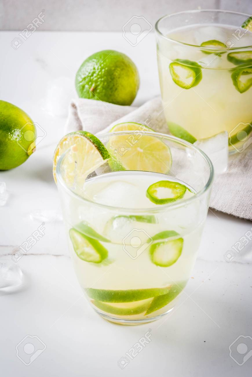 Mexican Traditional Refreshing Drink Fresh Lime And Jalapeno.. Stock ...