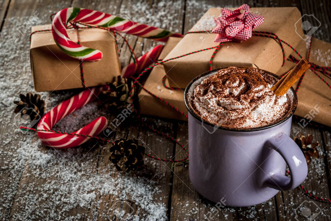 Christmas Concept, Hot Chocolate Or Cocoa With Whipped Cream.. Stock ...