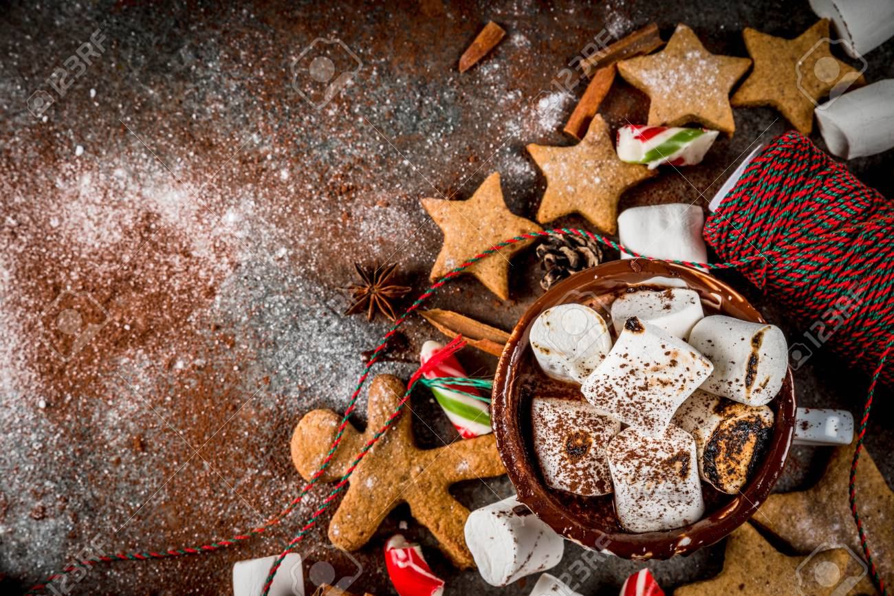 New Year Christmas Treats Sweets Cup Of Hot Chocolate With