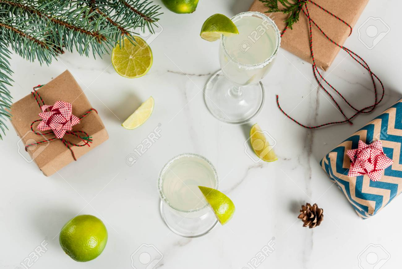 Ideas For Christmas And New Year Drinks. Champagne Margarita.. Stock ...