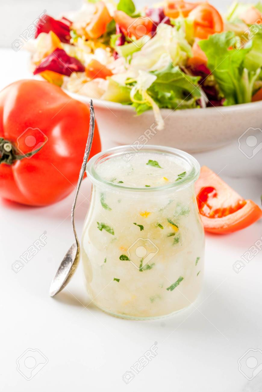 Classic Salad Dressing Homemade Ranch Dressing With Olive Oil Stock Photo Picture And Royalty Free Image Image 93644683