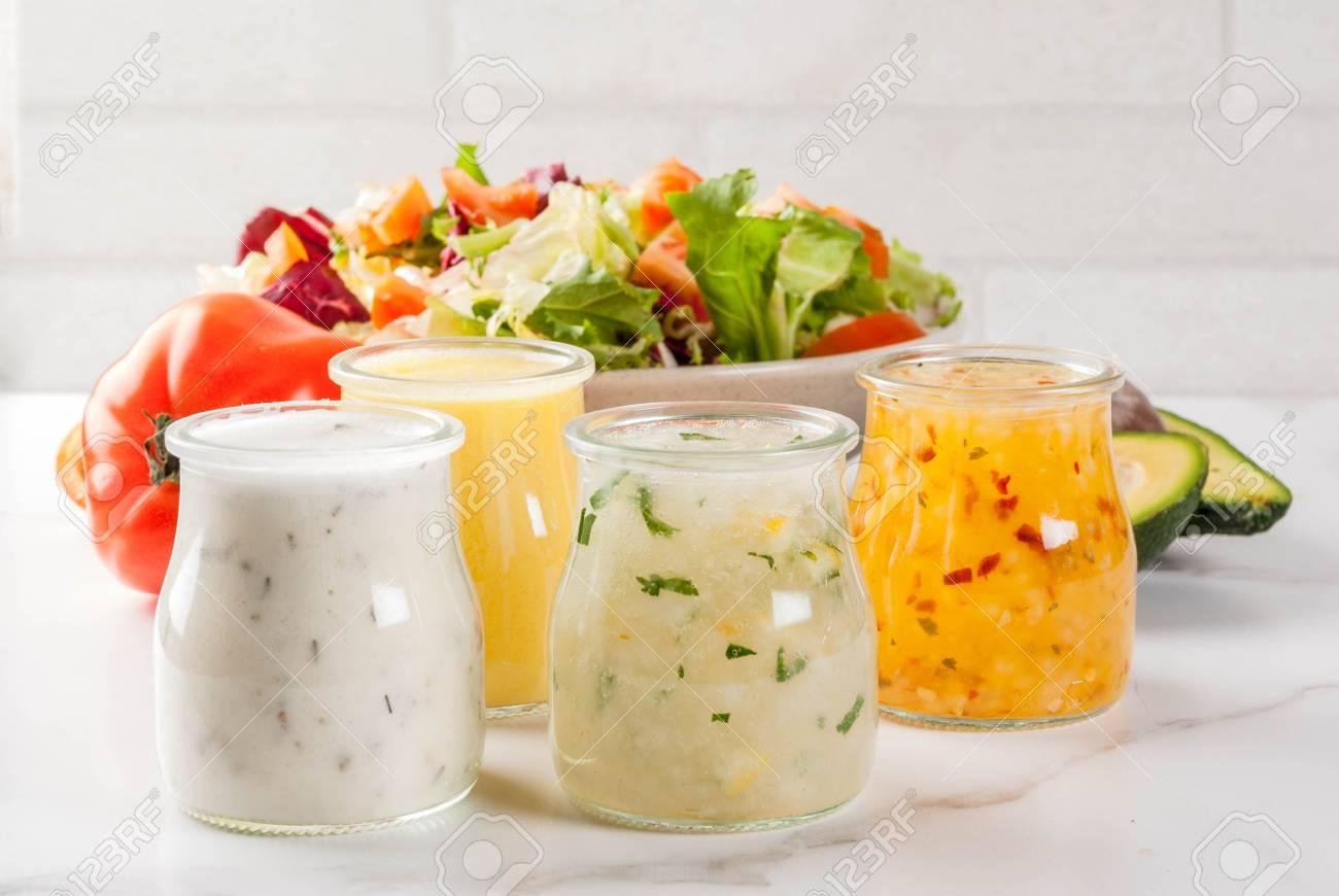 Set Of Classic Salad Dressings Honey Mustard Ranch Vinaigrette