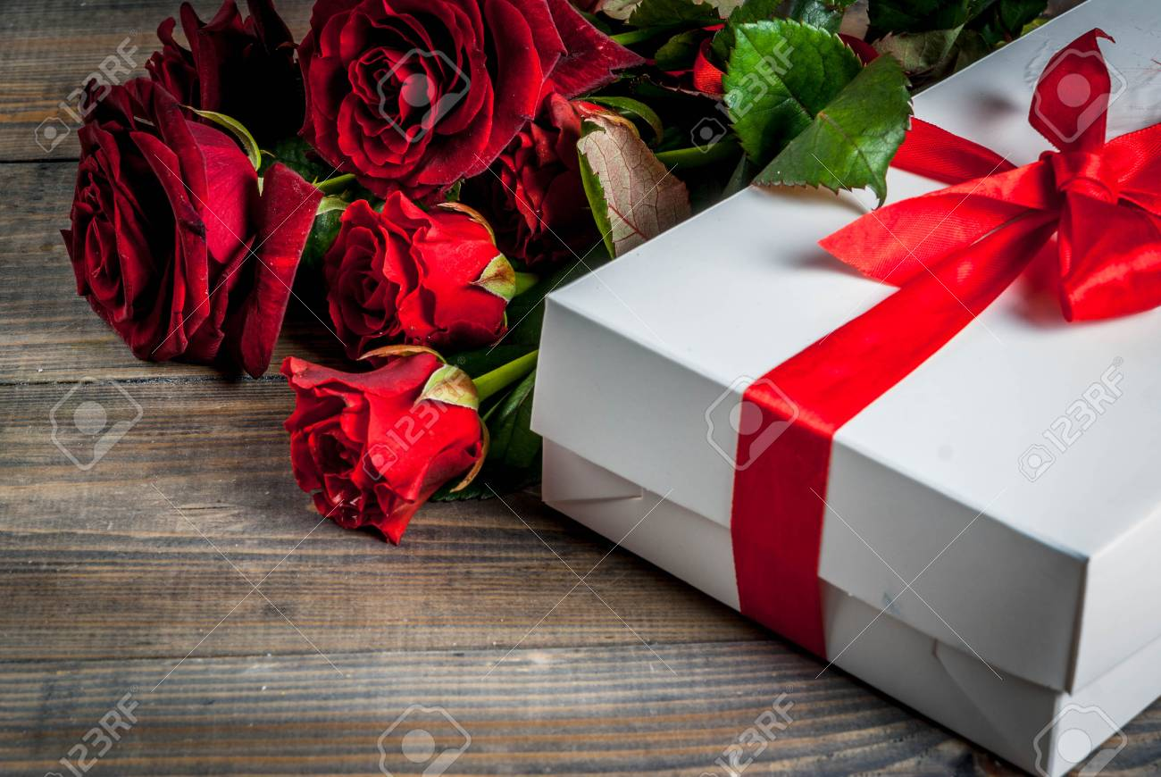 Holiday Background Valentine S Day Bouquet Of Red Roses Tie