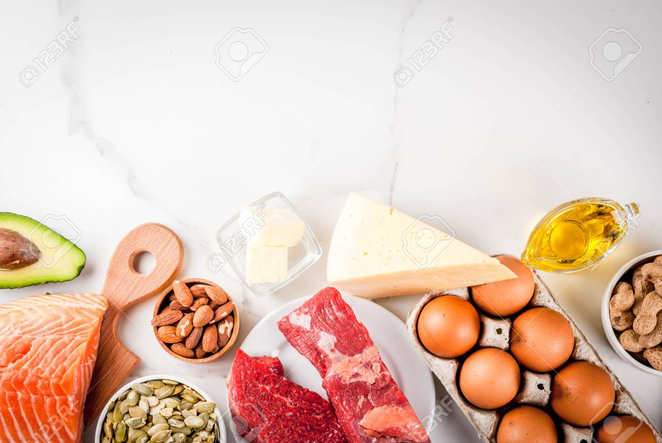 Ketogenic low carbs diet concept. Healthy balanced food with high content of healthy fats. Diet for the heart and blood vessels. Organic food ingredients, white marble background, copy space top view - 97186107