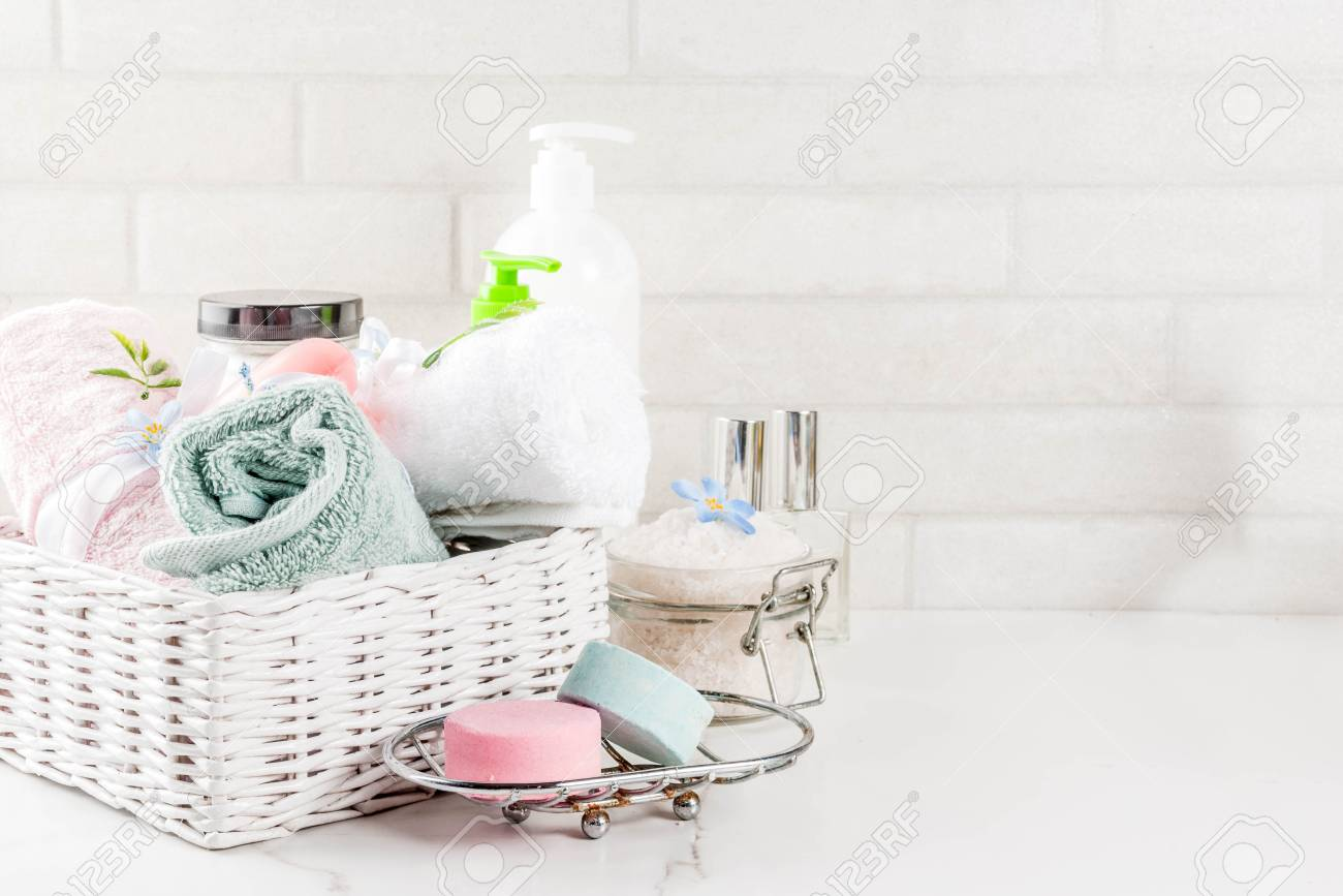 Spa Relax And Bath Concept, Sea Salt, Soap, With Cosmetics And Towels In