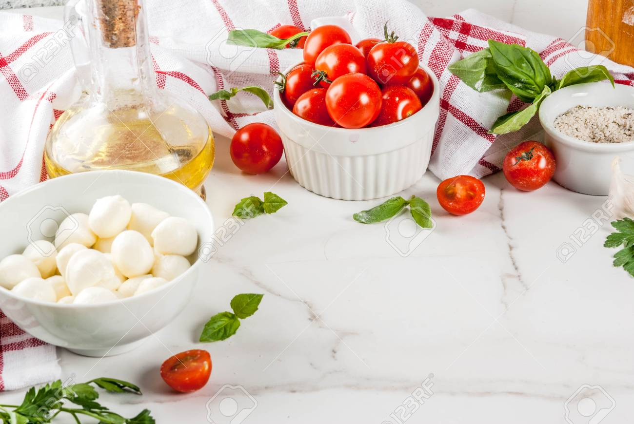 Homemade Pasta Pizza Italian Food Ingredient On White Marble.. Stock ...