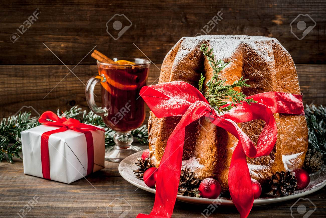 Italian Christmas.Traditional Italian Christmas Fruit Cake Panettone Pandoro With
