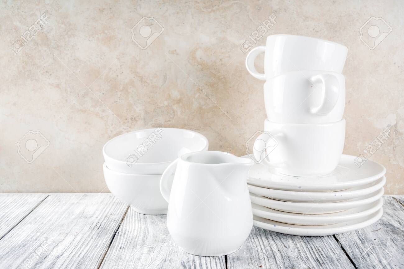 Assortment Stack Clean Empty New White Kitchen Utensils Plates Stock Photo Picture And Royalty Free Image Image 121713684