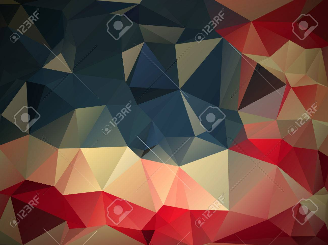red, blue,white,Funky modern background consisting of uneven sized triangles Stock Photo - 48416588