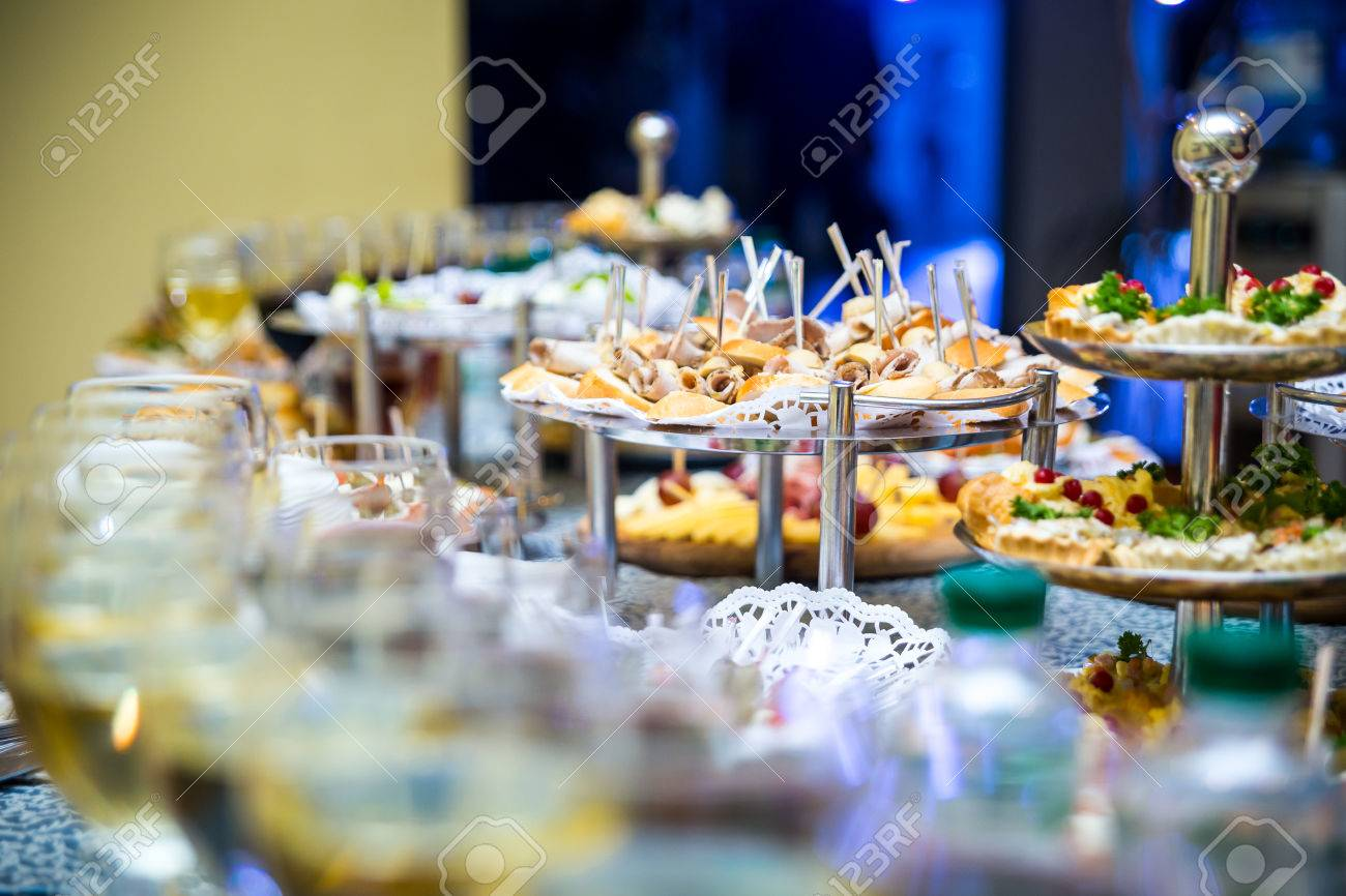 Buffet Table Canape Sandwiches Snacks Holiday Table Sliced - Catering table setting