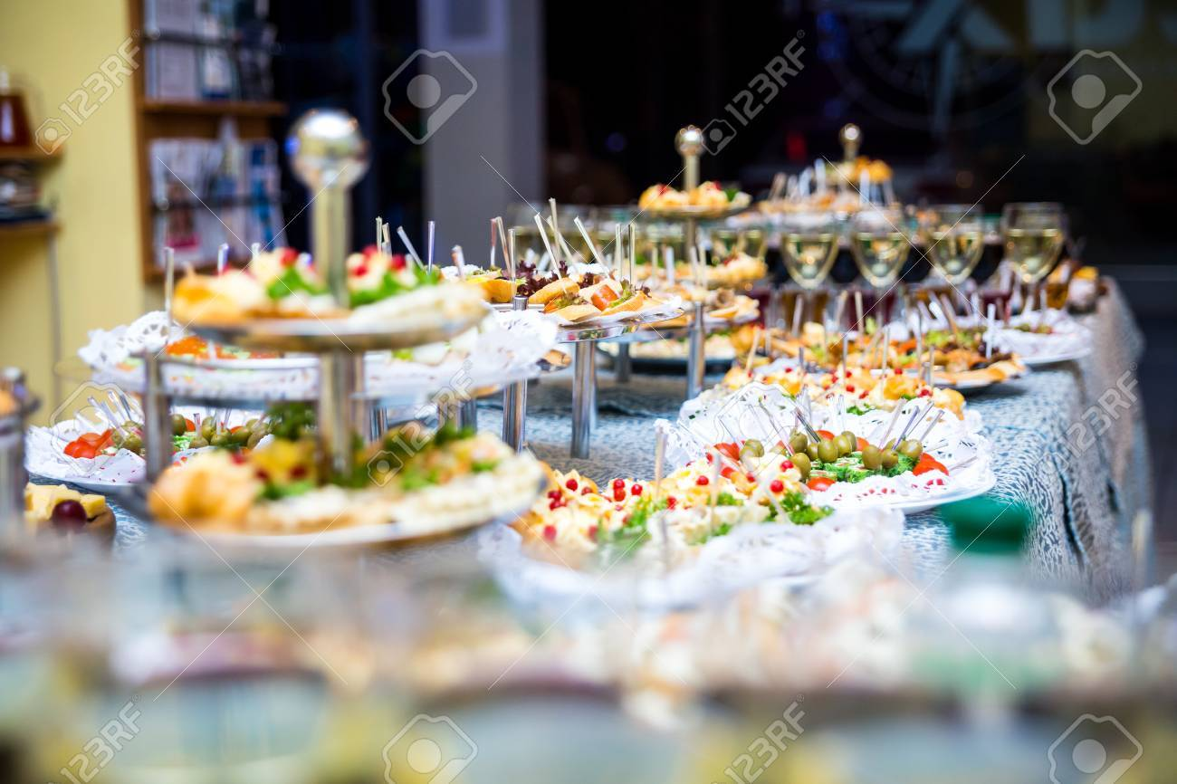 buffet table Canape sandwiches snacks holiday table sliced glasses & Buffet Table Canape Sandwiches Snacks Holiday Table Sliced ...
