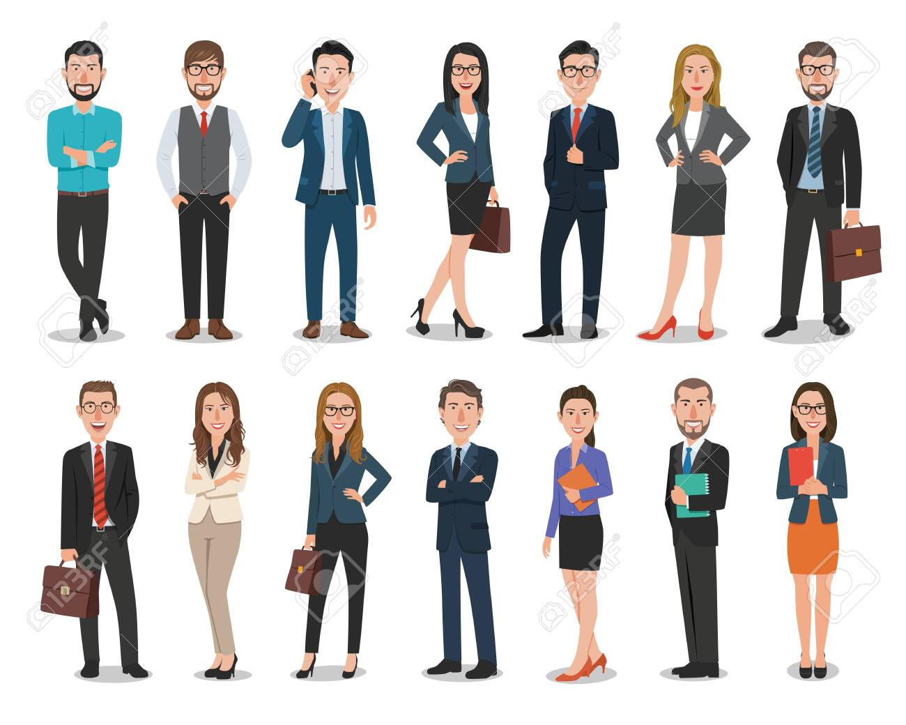 Group of business men and business women characters working in office - 121417403