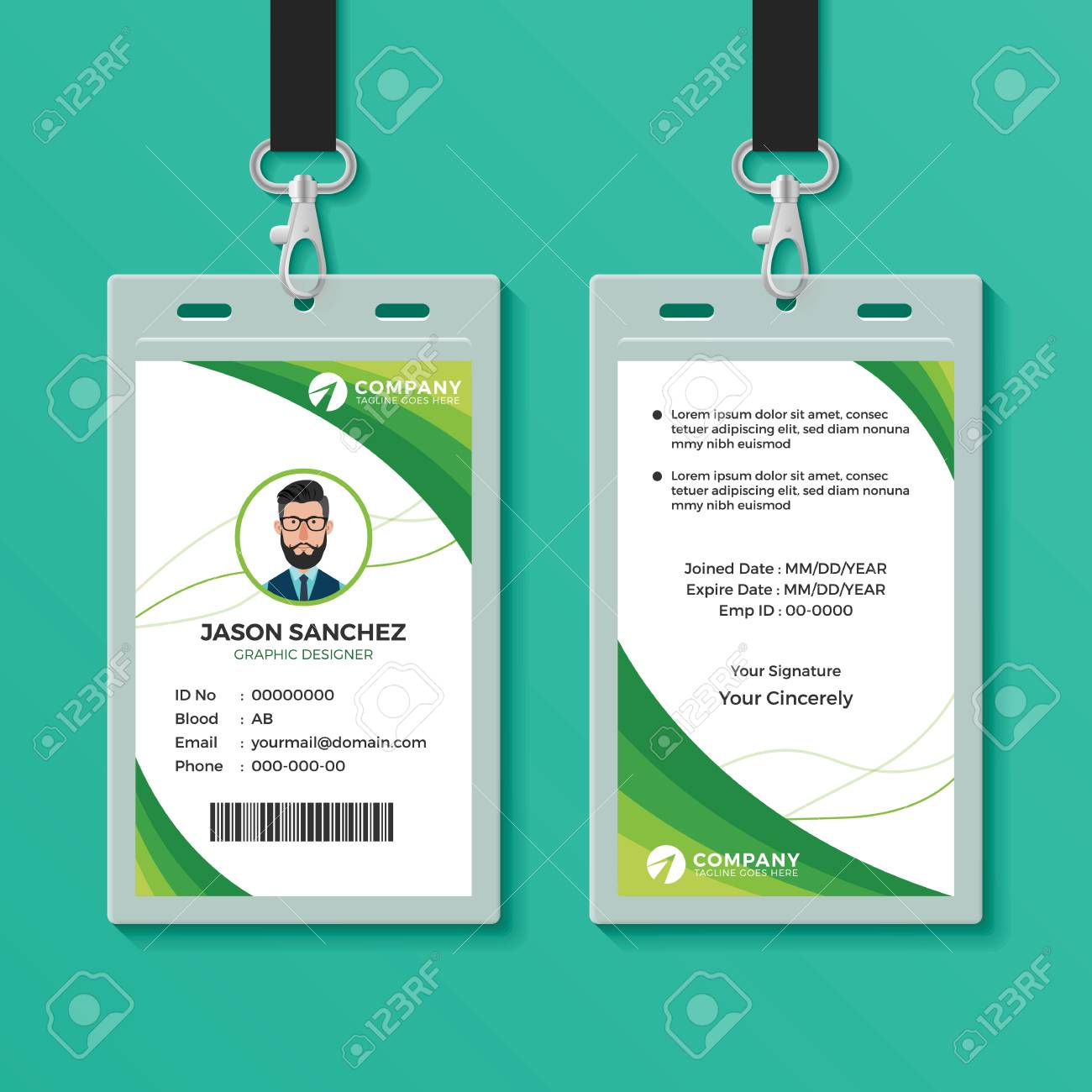 Green Graphic ID Card Design Template - 123982163