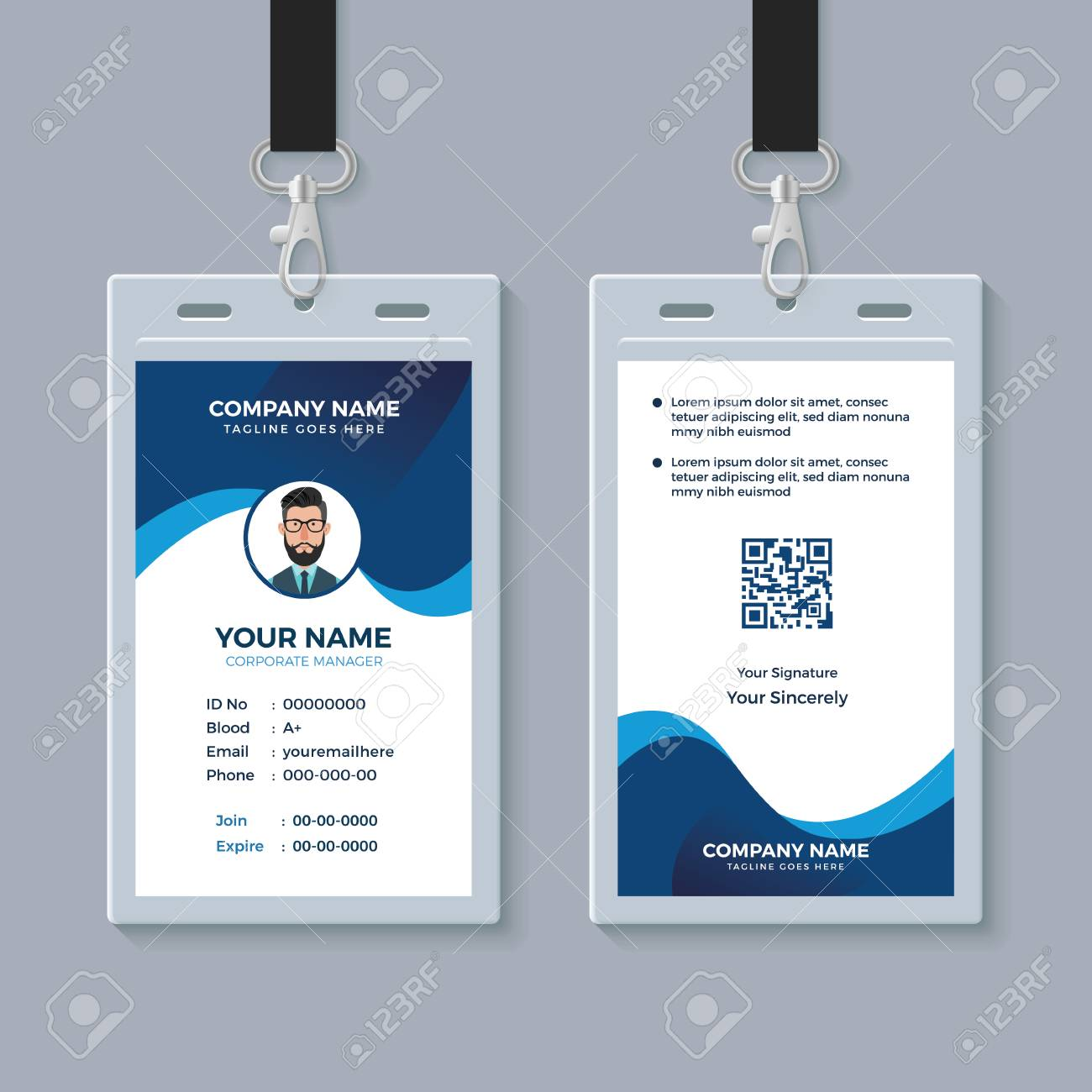 Modern Clean ID Card Template Royalty Free Cliparts, Vectors, And With Regard To Sample Of Id Card Template