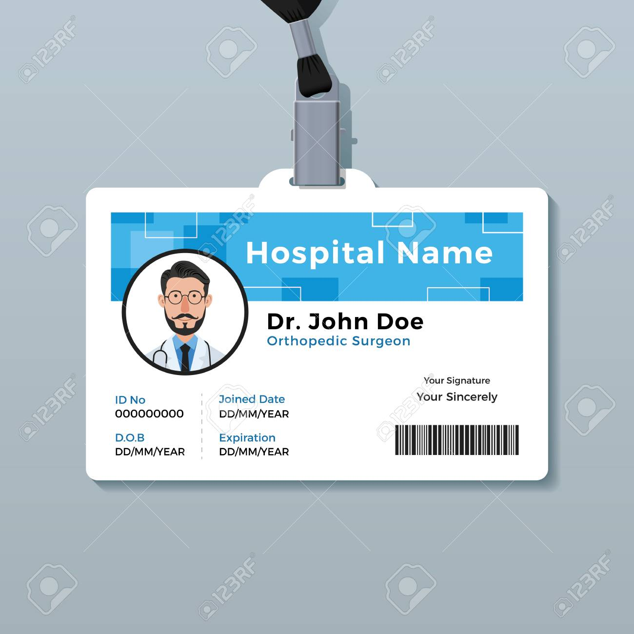 Doctor Id Badge Medical Identity Card Template Royalty Free Cliparts Vectors And Stock Illustration Image 123983456