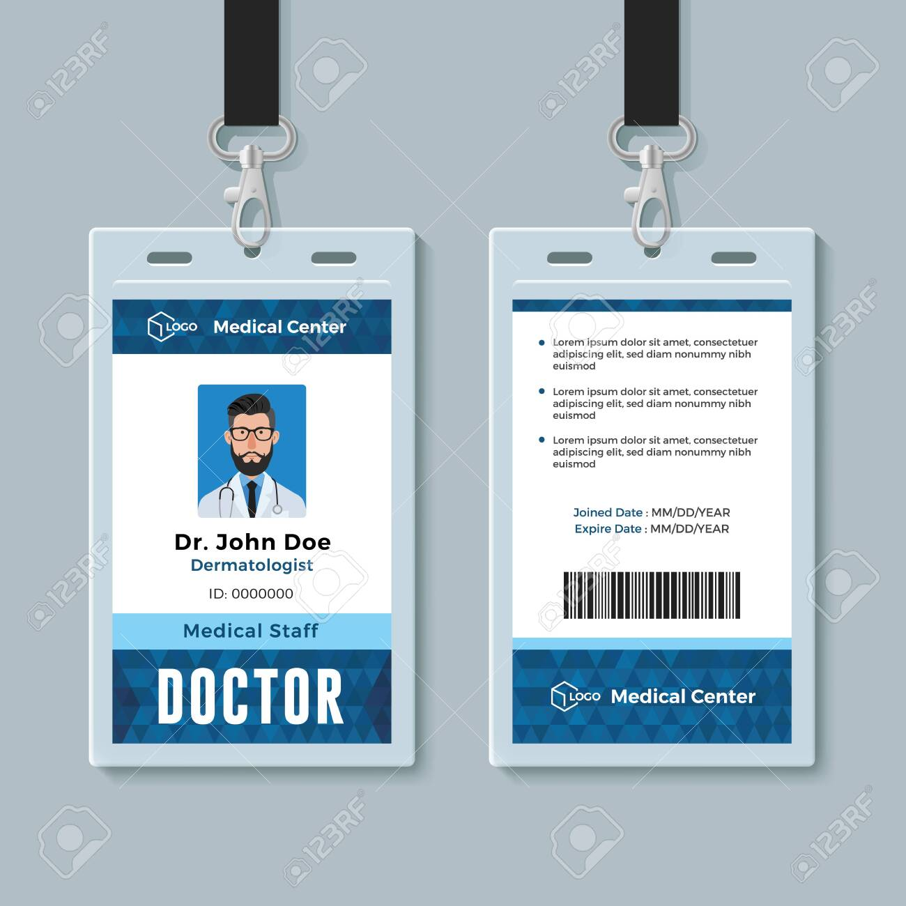 Doctor Id Card Medical Identity Badge Design Template