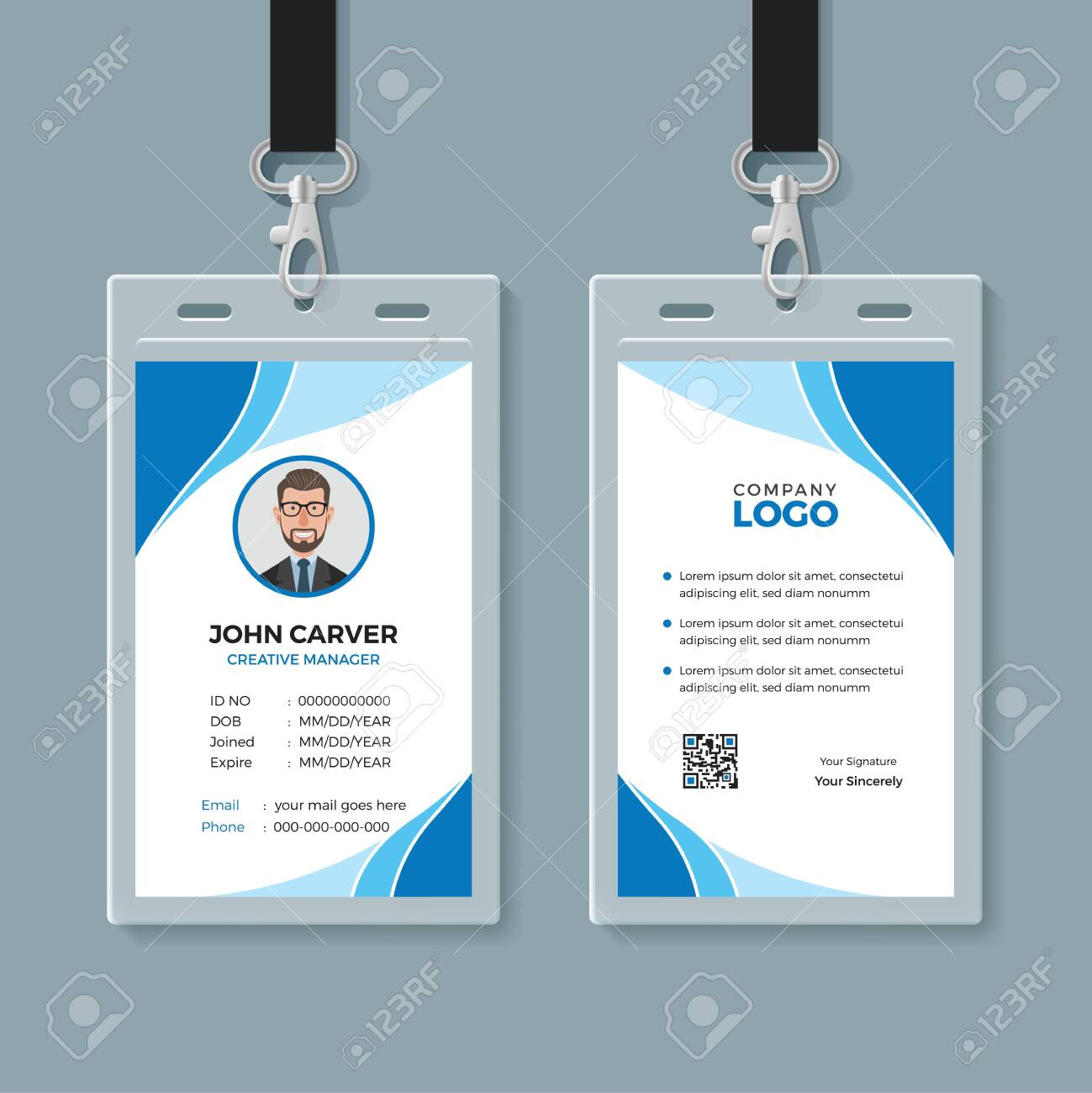 Simple Blue Office ID Card Template Royalty Free Cliparts, Vectors Regarding Sample Of Id Card Template